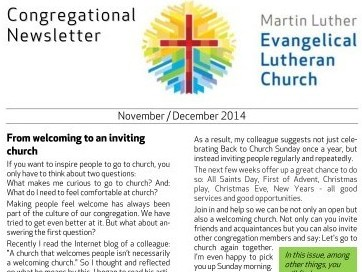 Nov – Dec 2014 Congregational Newsletter