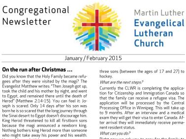 2015 Jan – Feb Congregational Newsletter