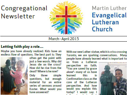 2015 March – April Congregational Newsletter