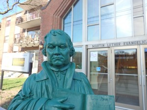 2015 April, Martin Luther Ambassador statue in front of our church