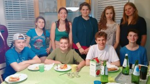 Youth Group in May Pizza party after a walk on the boardwalk at The Beach from Lilly's house