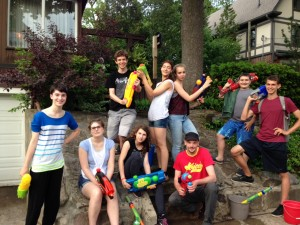 2015 June Youth Group - Armed with water guns headed to High Park from Derek's house