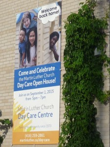 Daycare Reopening in September, banner on 5 Superior Ave