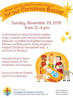 2015 MLC Christmas Bazaar Nov 29-12-4pm
