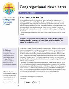 2016 Feb-Mar Newsletter -Martin Luther Church