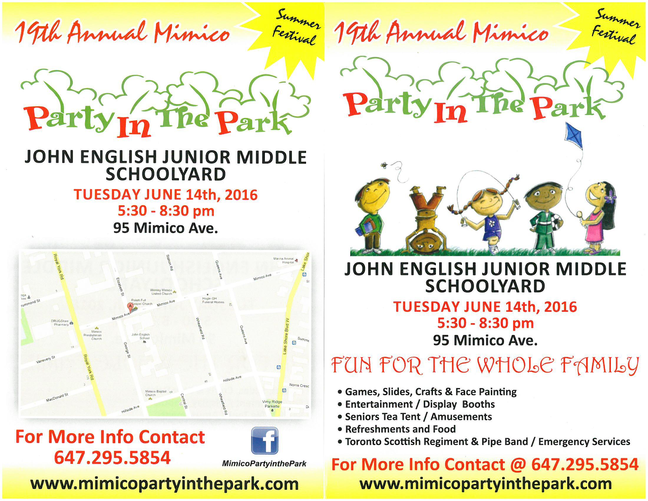Come enjoy the Mimico Party in the Park