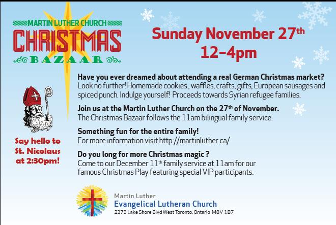 German Christmas Bazaar At Martin Luther Church And Visit From St. Nicolaus -Sun Nov 27