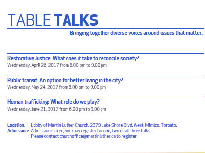 Luther 2017: Table Talks At Martin Luther Church -Apr26 -May24 -Jun21