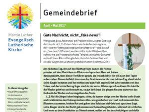 Apr - Mai 2017 Martin Luther Kirche -Gemeindebrief