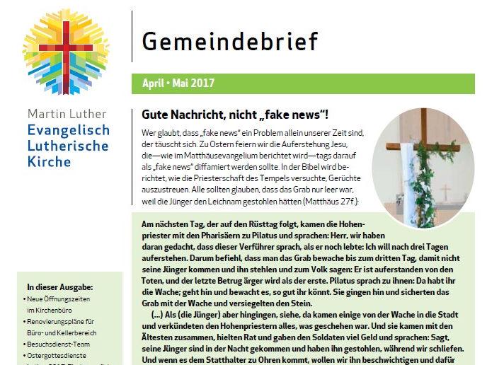 Apr - Mai 2017 Gemeindebrief