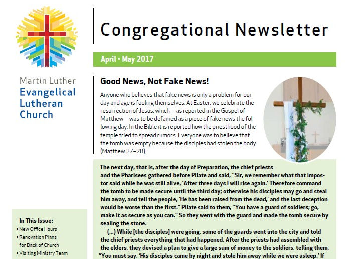Our April – May 2017 Congregational Newsletter