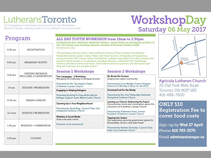 Lutherans Toronto Workshop Day Sat May 6th