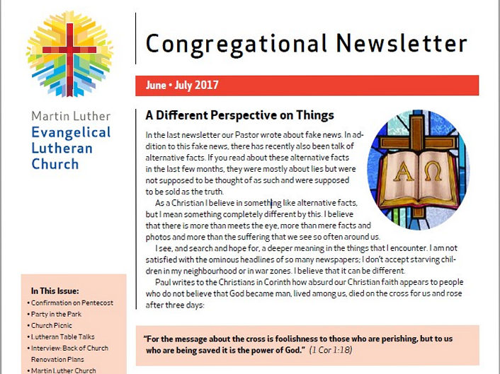 Our Congregational Newsletter For June And July 2017