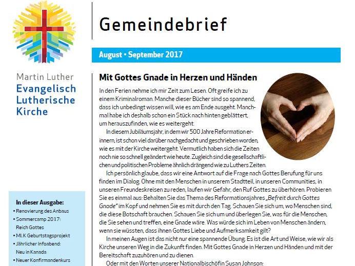 Unser Gemeindebrief Für August Und September 2017