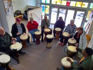 Drum Circle in the church lobby