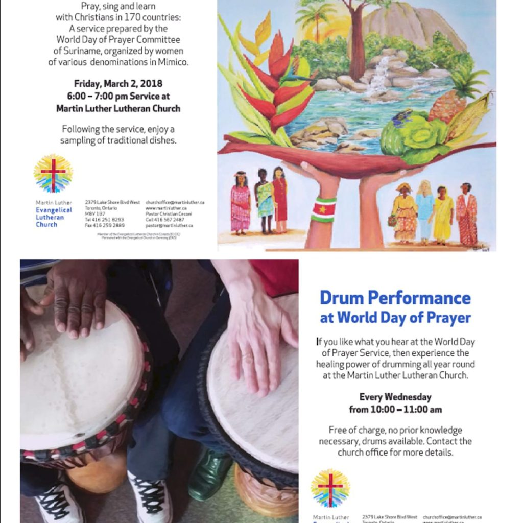 2018 WDP At MLC Postcard Poster With Guest Speaker And Drum Circle