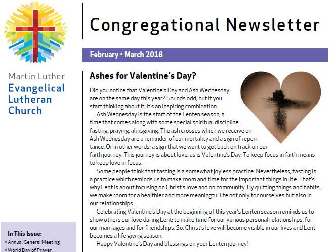 Our Congregational Newsletter For February And March 2018
