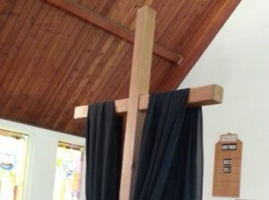 Good Friday cross in sanctuary