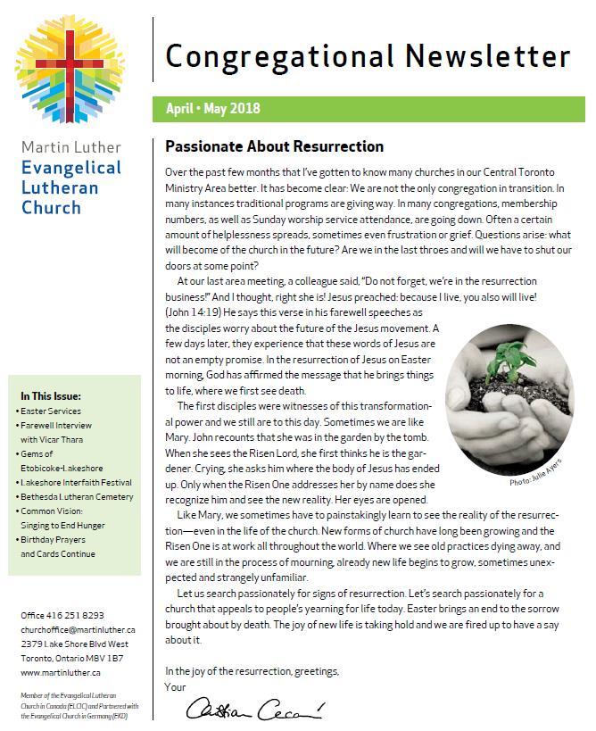 2016 Feb-Mar Newsletter -Martin Luther Church