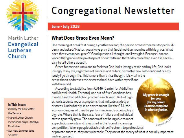 Our Congregational Newsletter For June And July 2018