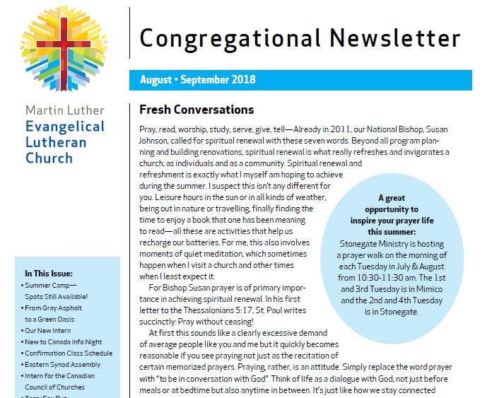 Our Congregational Newsletter For August And September 2018