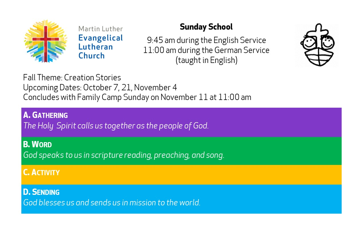 Activities For Families: Sunday School, Family Camp Sunday Nov 11th, Then Christmas Play