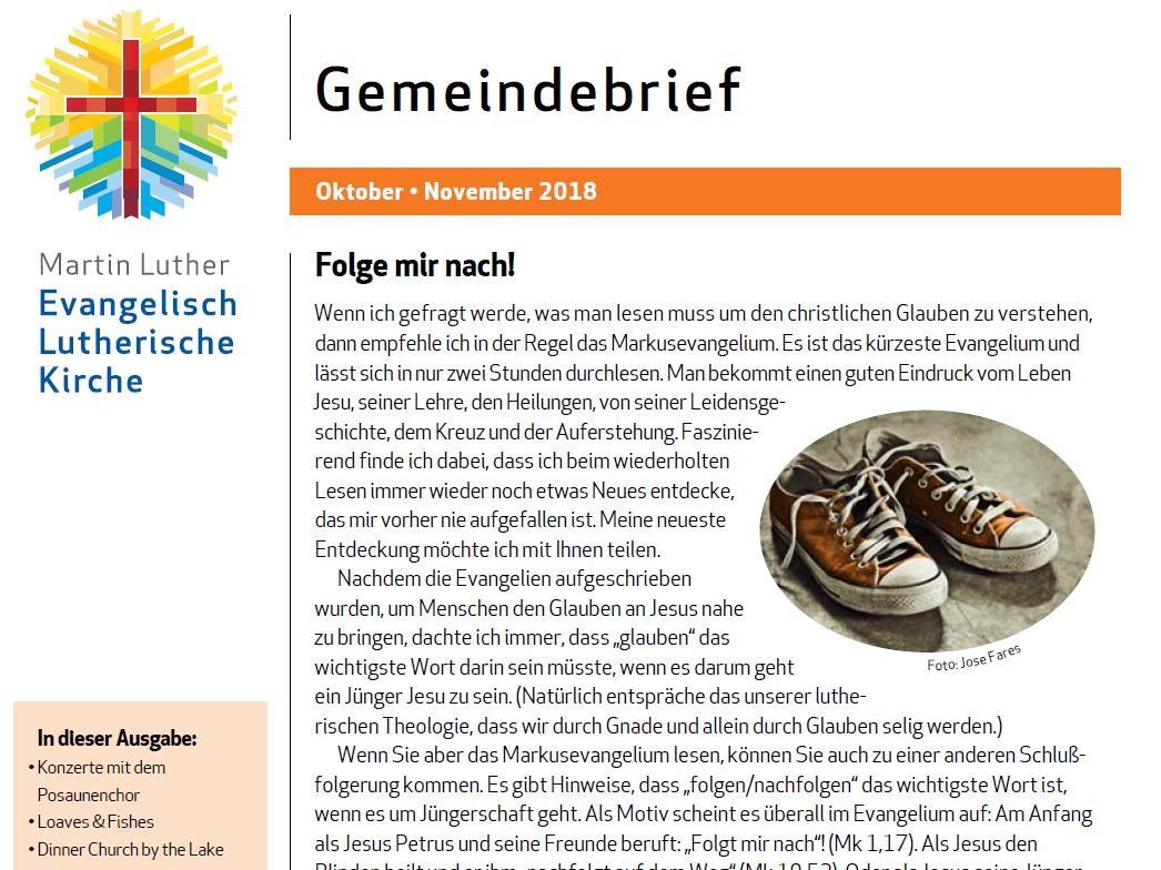 Gemeindebrief Okt - Nov 2018