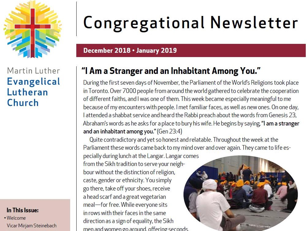 Our Congregational Newsletter Dec 2018 – Jan 2019