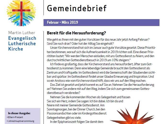 Gemeindebrief Feb - Mrz 2019