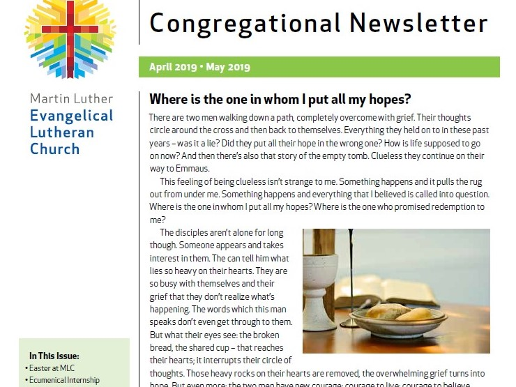 Our Congregational Newsletter For April And May 2019