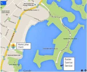 map to Easter Sunrise Humber Bay Park West