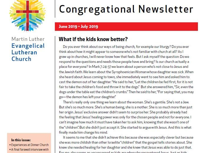Our Congregational Newsletter June – July 2019