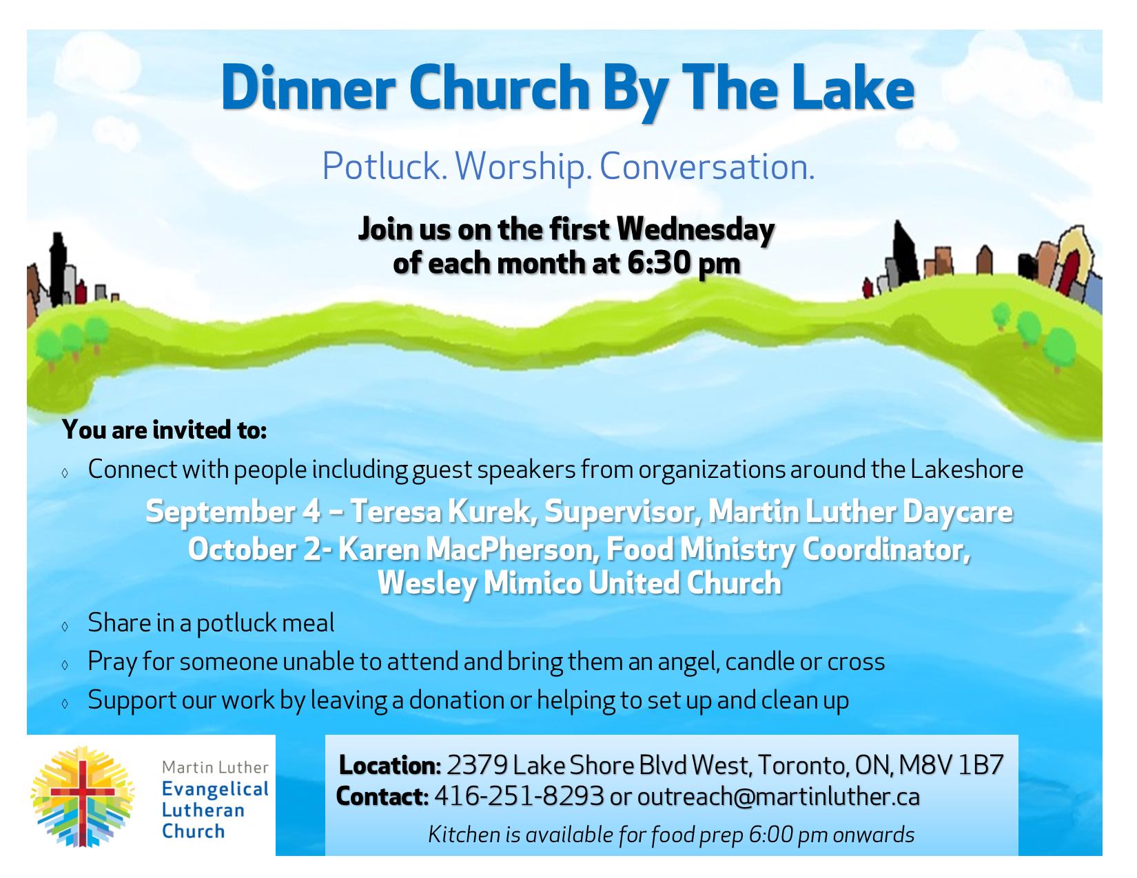 Dinner Church By The Lake – 4. Sep, 2 Okt