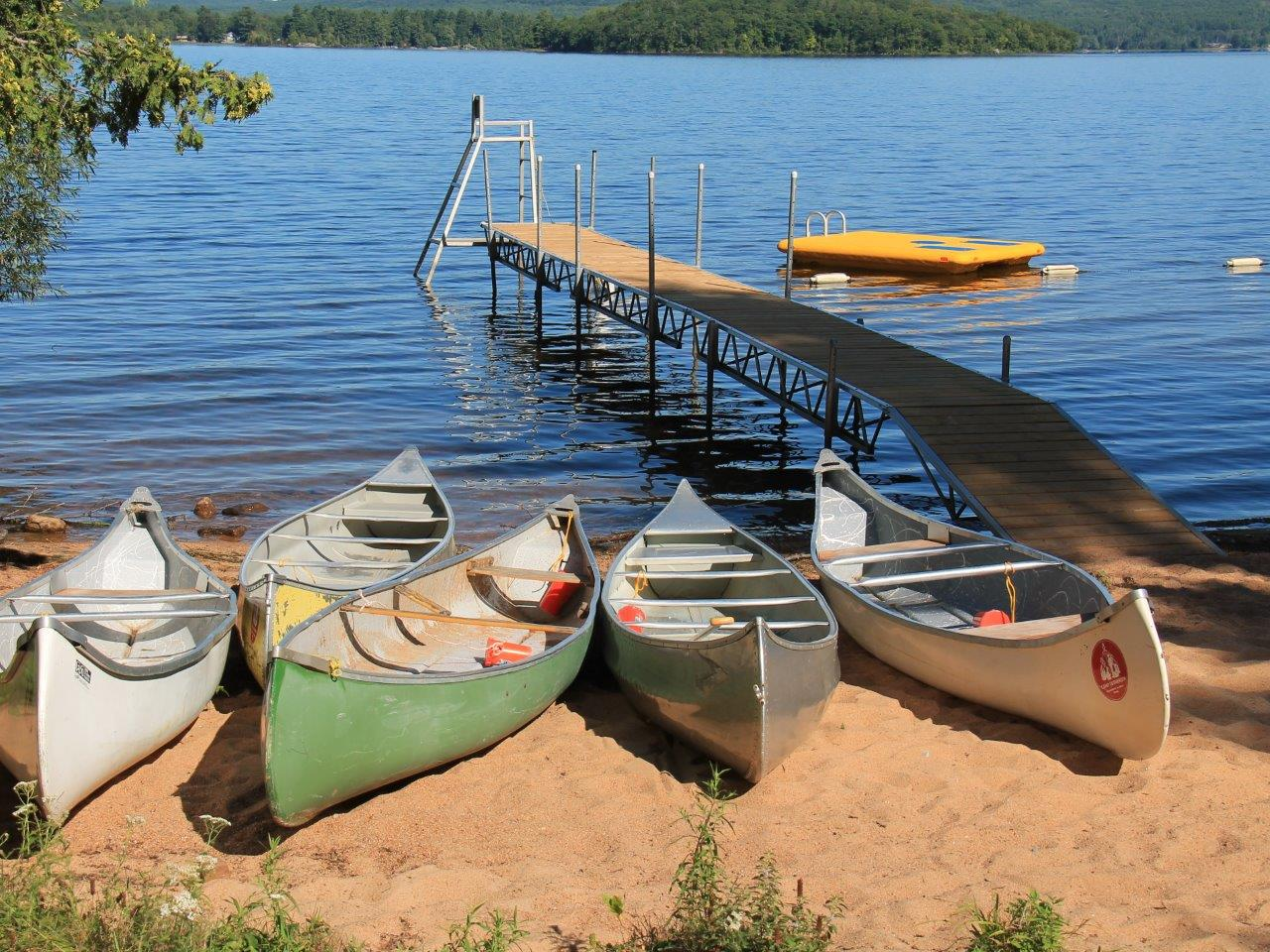 Camp Lutherlyn dock and canoes