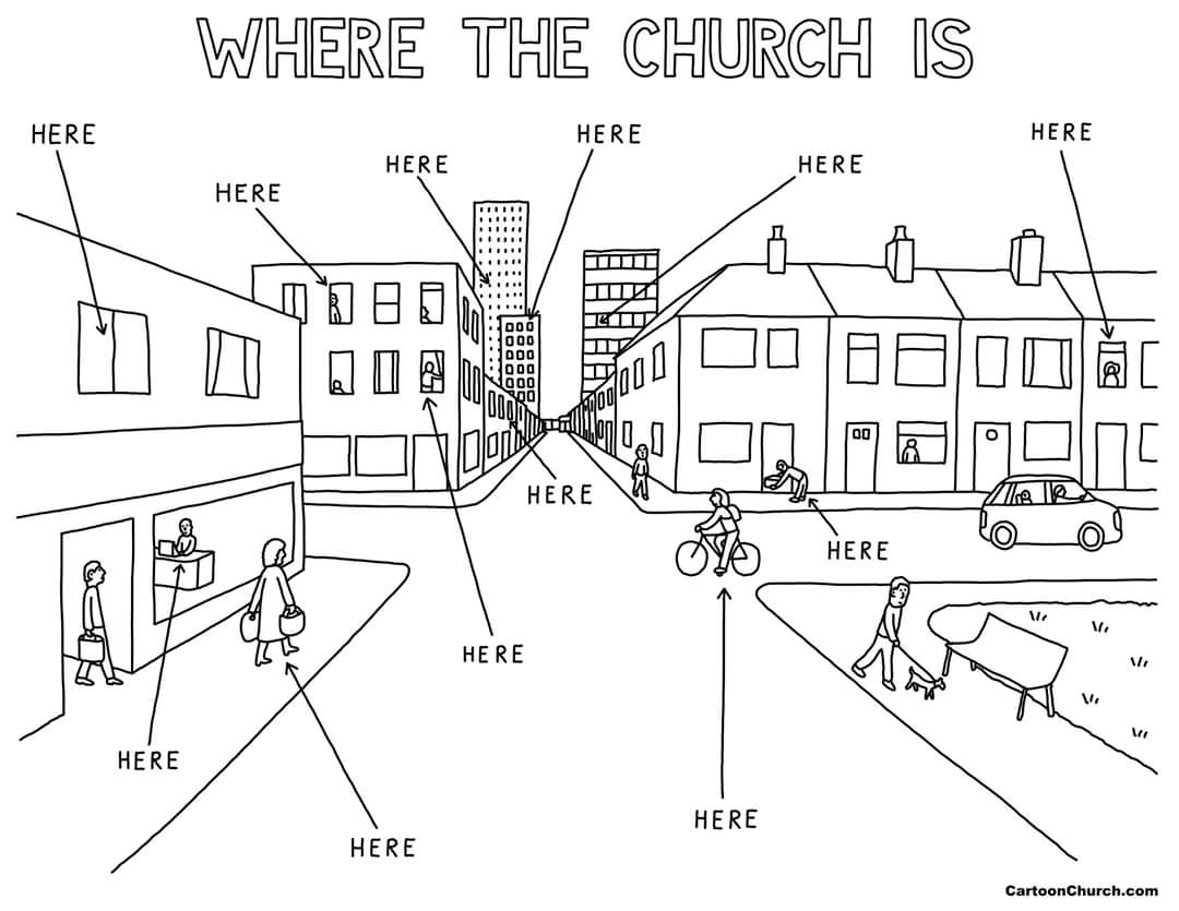 2020 Gif Line Drawing City Scene Arrows WHERE CHURCH IS HERE