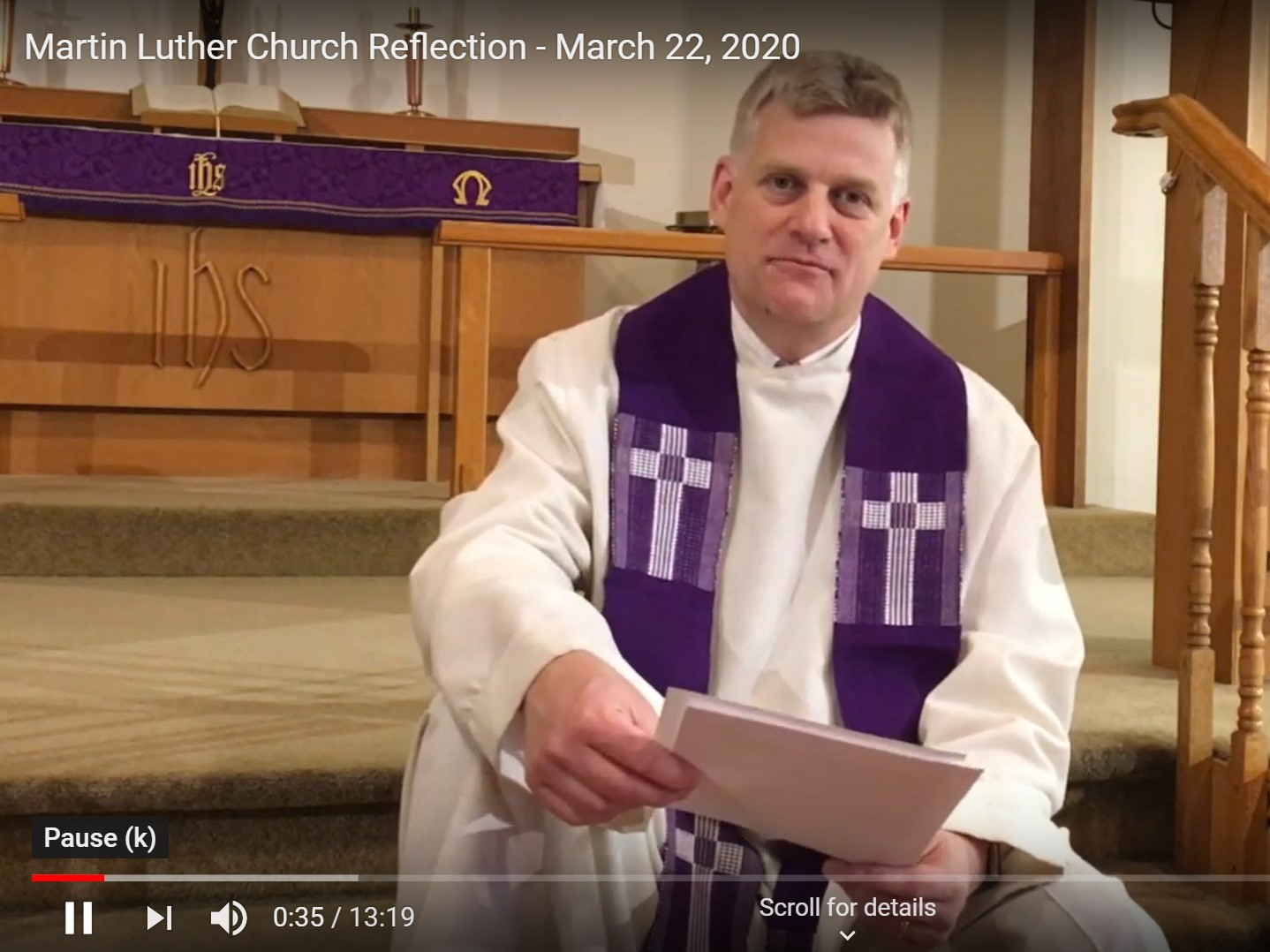 Sunday March 22, 2020  YouTube Video Online Worship
