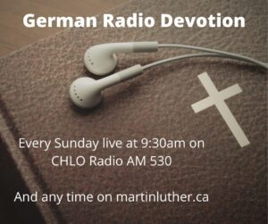 Image of a Bible with earbuds and headphones for German Radio Devotion Sunday