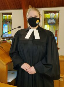 Vicar Silke Fahl Oct 18 2020 at Martin Luther Church during pandemic