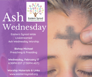 Eastern Synod 2021 Ash Wednesday poster