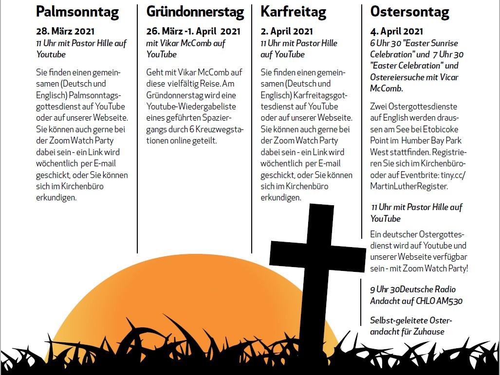 Gemeindebrief Schedule Fuer Ostern 2021