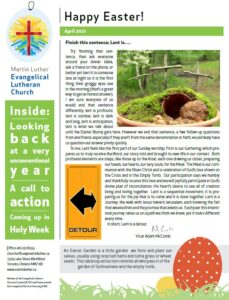 Newsletter for Easter 2021 photo of front page