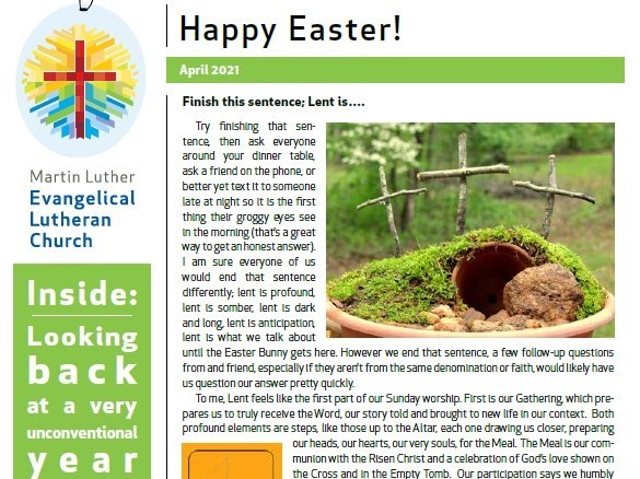Newsletter For Easter 2021 Photo Of Front Page (4x3)