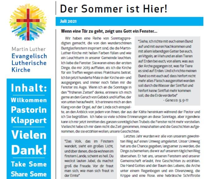 Gemeindebrief Fuer Sommer 2021 Blog