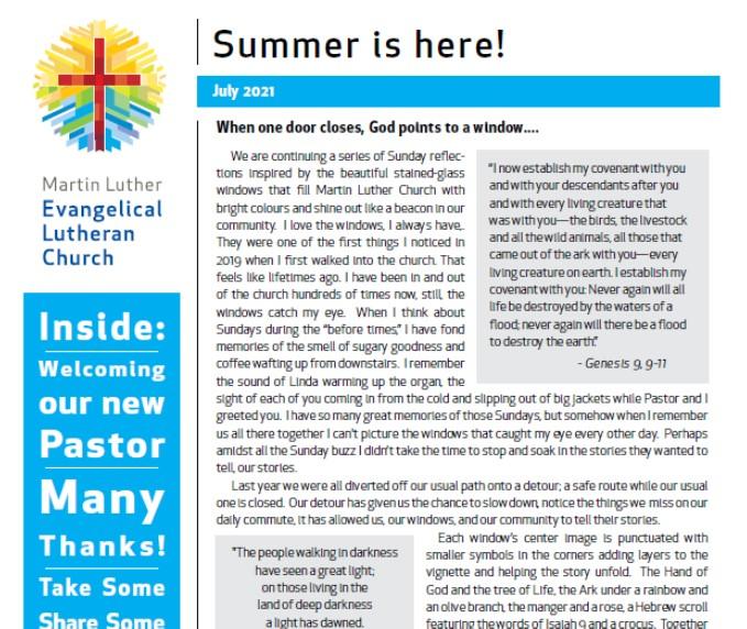 Newsletter For Summer 2021 Blog