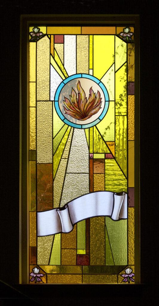 West window flame Pentecost MLC Fenster taken Oct13-2017 by cb